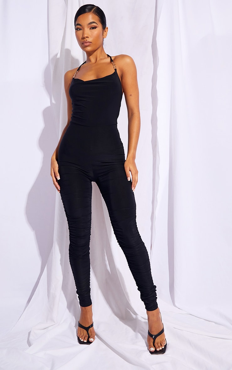 Black Chain Detail Halterneck Slinky Jumpsuit 1