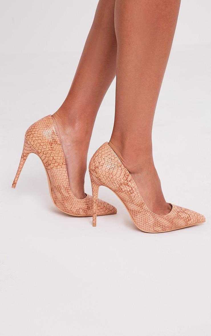 Ellia Nude Faux Snake Skin Pointed Heels 3
