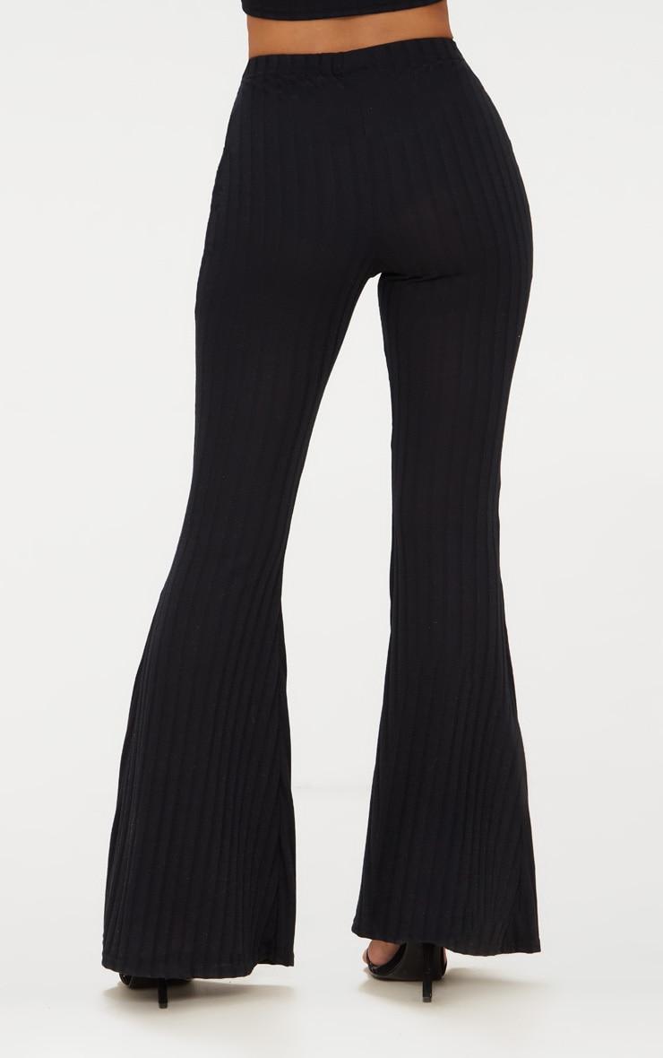 Petite - Pantalon flare noir côtelé 4