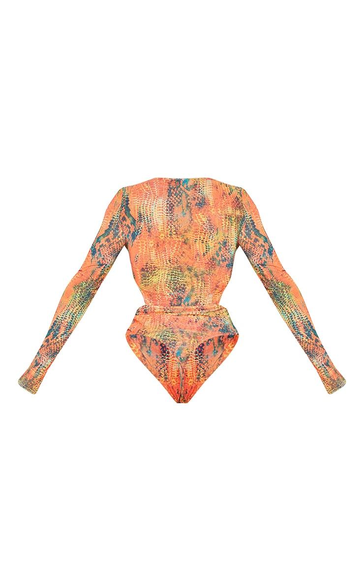 Shape Orange Croc Print Mesh Panel Cut Out Detail Bodysuit 6