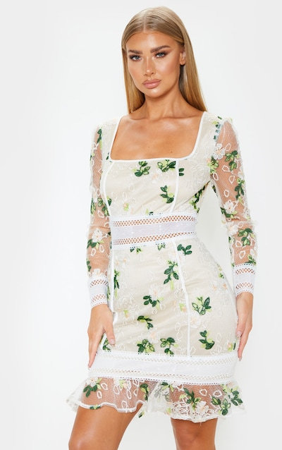 White Floral Print Lace Flute Hem Bodycon Dress