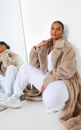 Plus Taupe Belted Faux Fur Coat 4