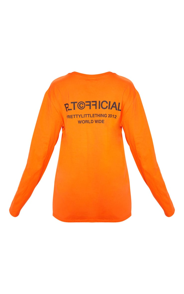PRETTYLITTLETHING Orange Official Slogan Long Sleeve T Shirt 4