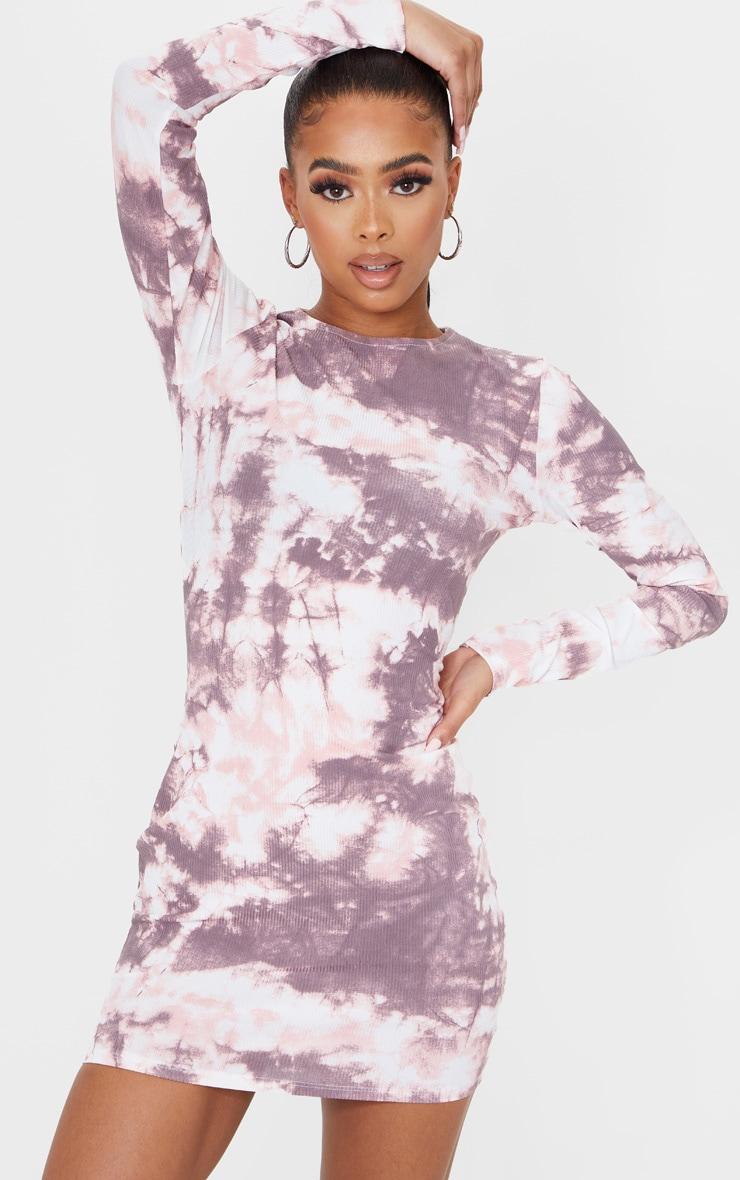 Robe moulante côtelée à imprimé tie & dye rose pâle et manches longues 1