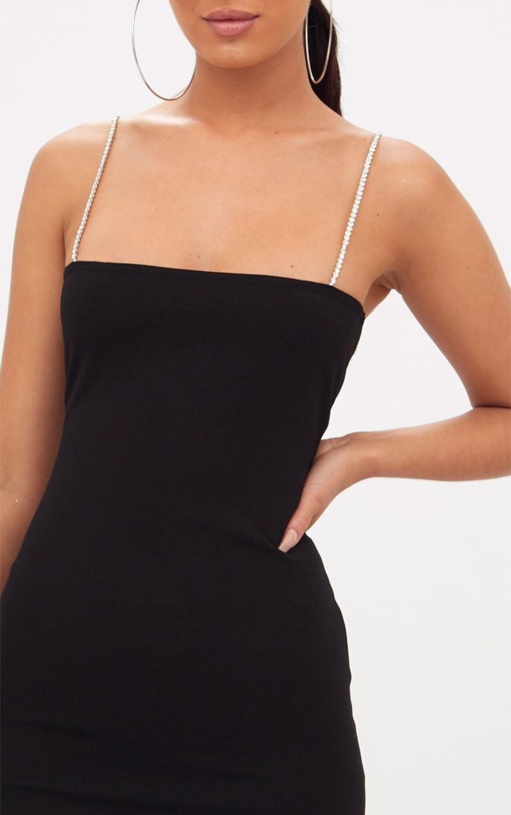 Black Diamante Strap Straight Neck Midi Dress 5