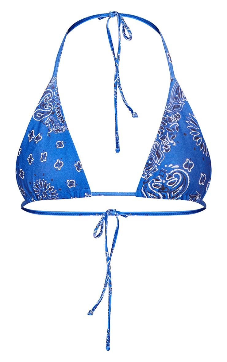 Blue Bandana Print Upside Down Bikini Top 5