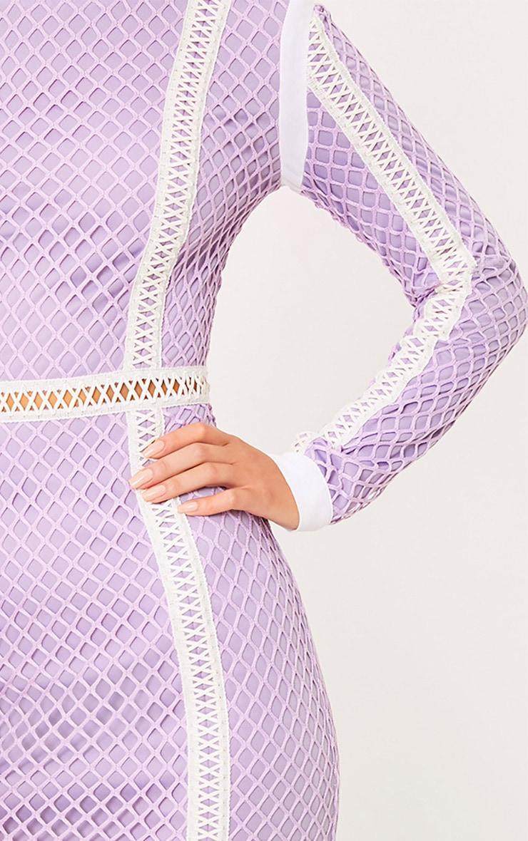 Thea Lilac Fishnet Panel Bodycon Dress 5