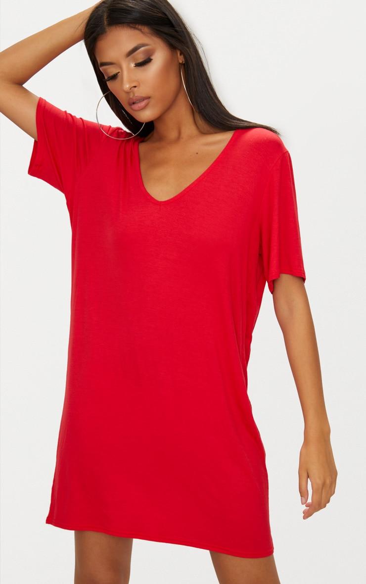 Red Jersey Back Strap Detail T Shirt Dress 2