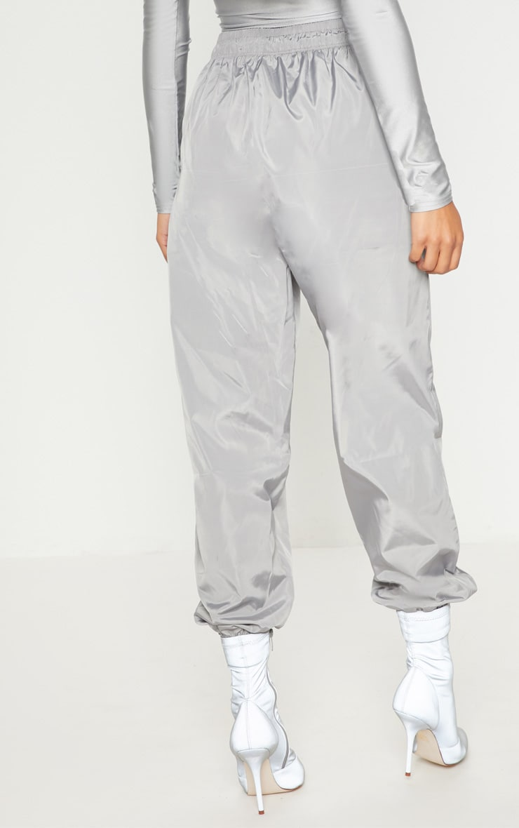 Silver Grey Drawstring Waist Shell Trouser 4