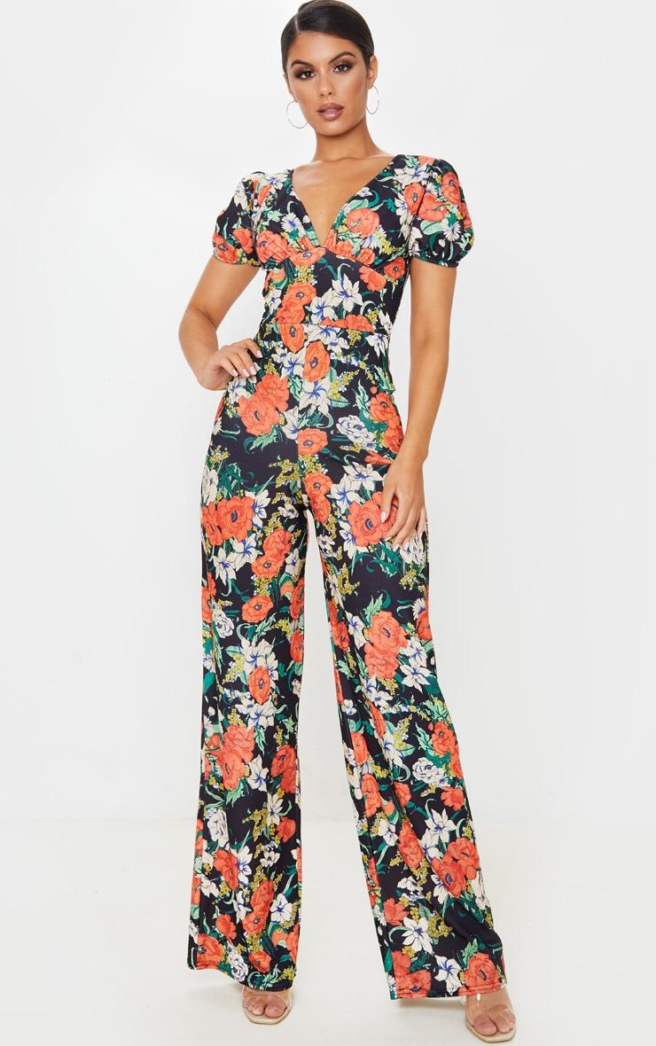 Multi Floral Print Puff Short Sleeve Plunge Jumpsuit 1