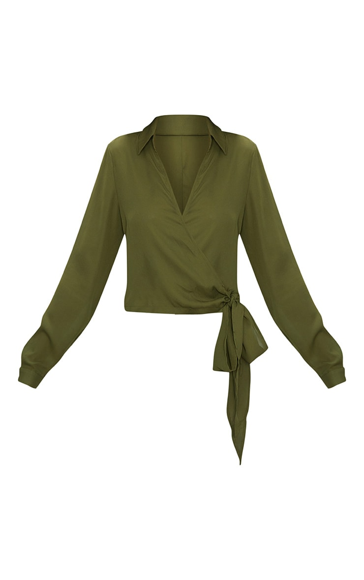 Avalyn Khaki  Wrap Front Tie Side Blouse 4