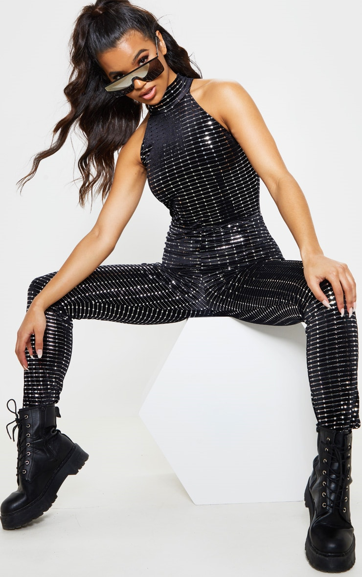 Black Sequin Halterneck Jumpsuit 5