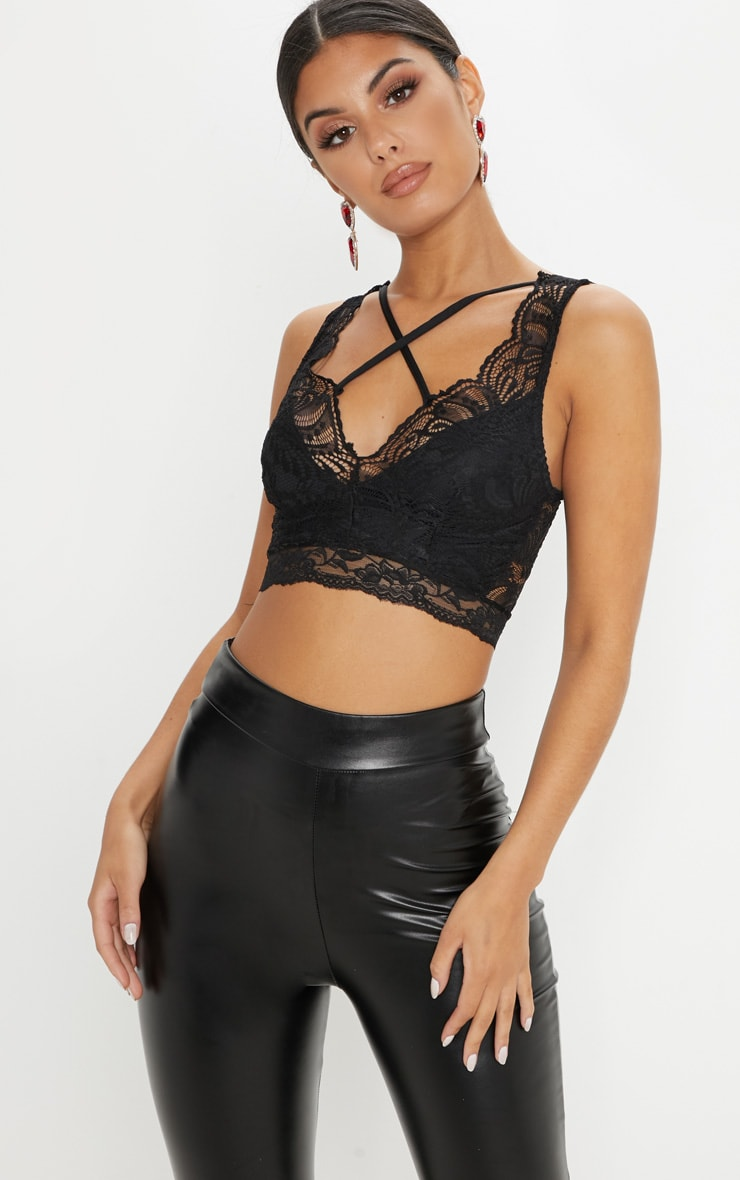 Black Lace Cross Front Detail Bralet 1