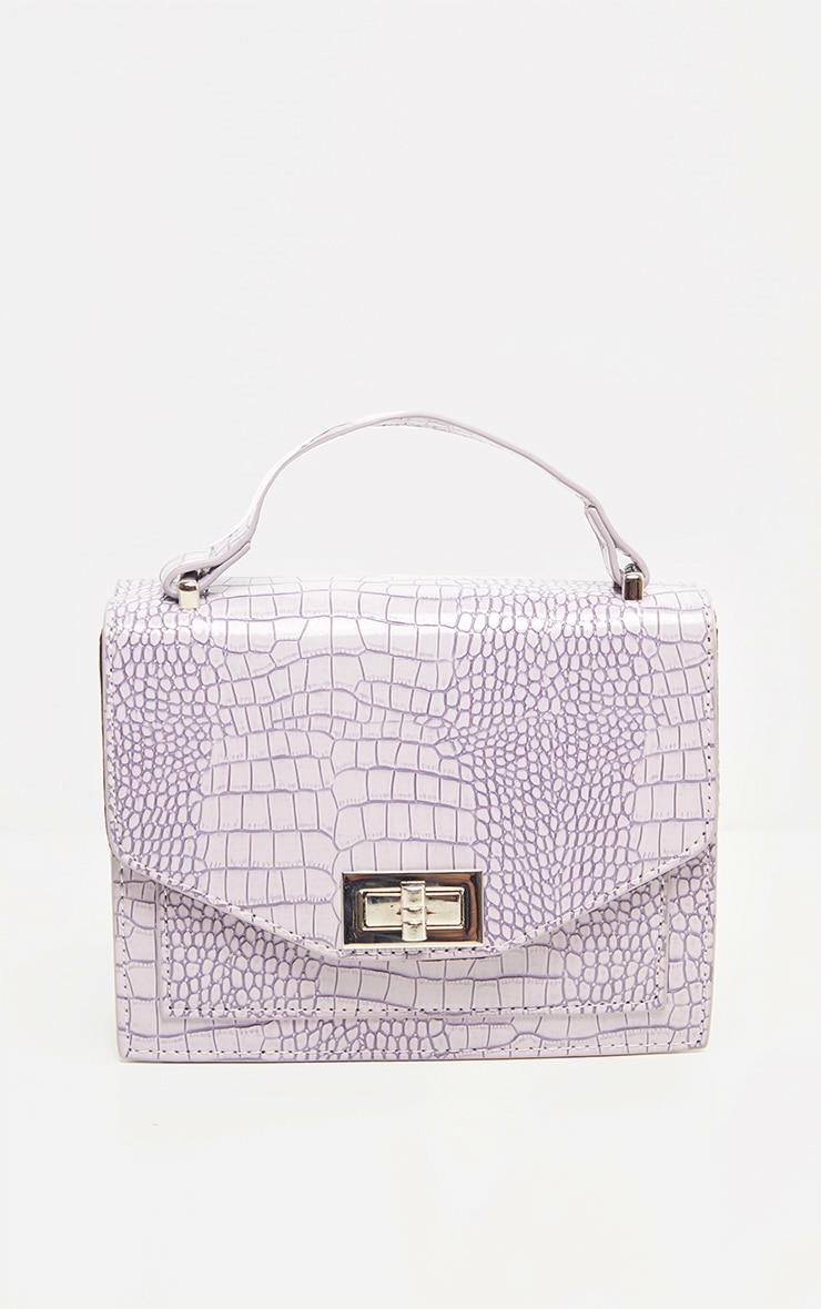 Dusty Lilac Patent Box Cross Body Bag 2