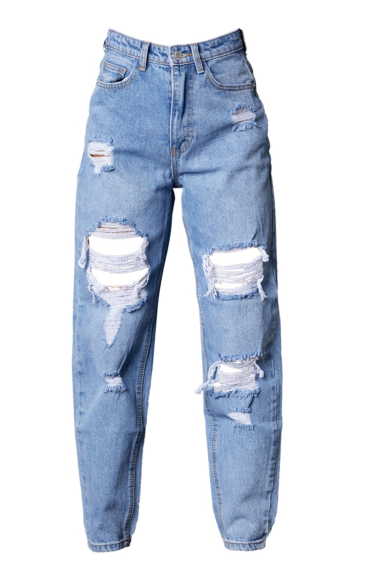 PRETTYLITTLETHING Petite Light Blue Wash Ripped Mom Jeans 5