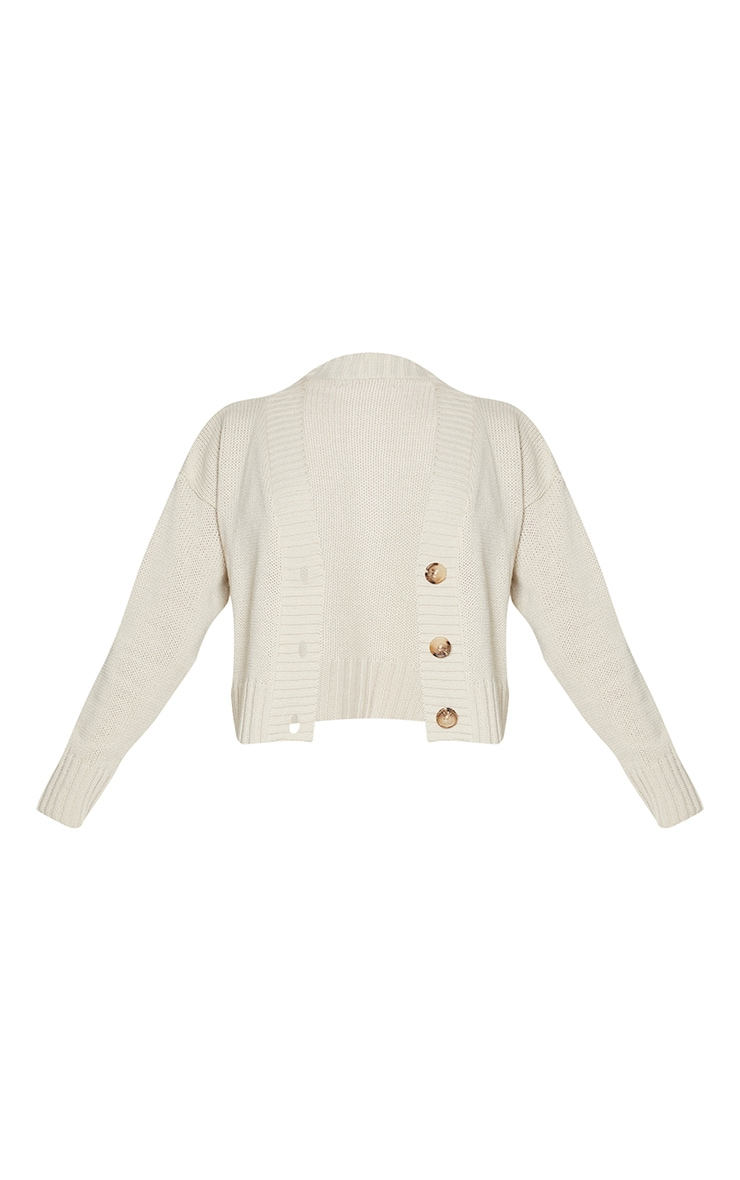 Cream Knitted Button Crop Cardigan 5