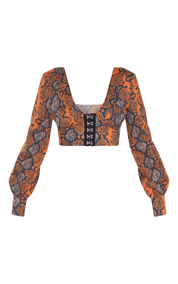 Burnt Orange Snake Print Hook and Eye Plunge Long Sleeve Crop Top 3