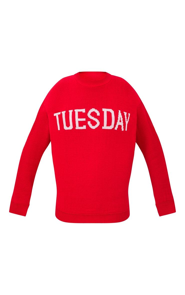 Red Tuesday Slogan Jumper 3