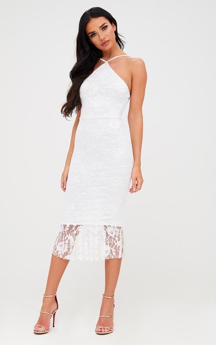 White Lace Strappy Frill Hem Midi Dress 1