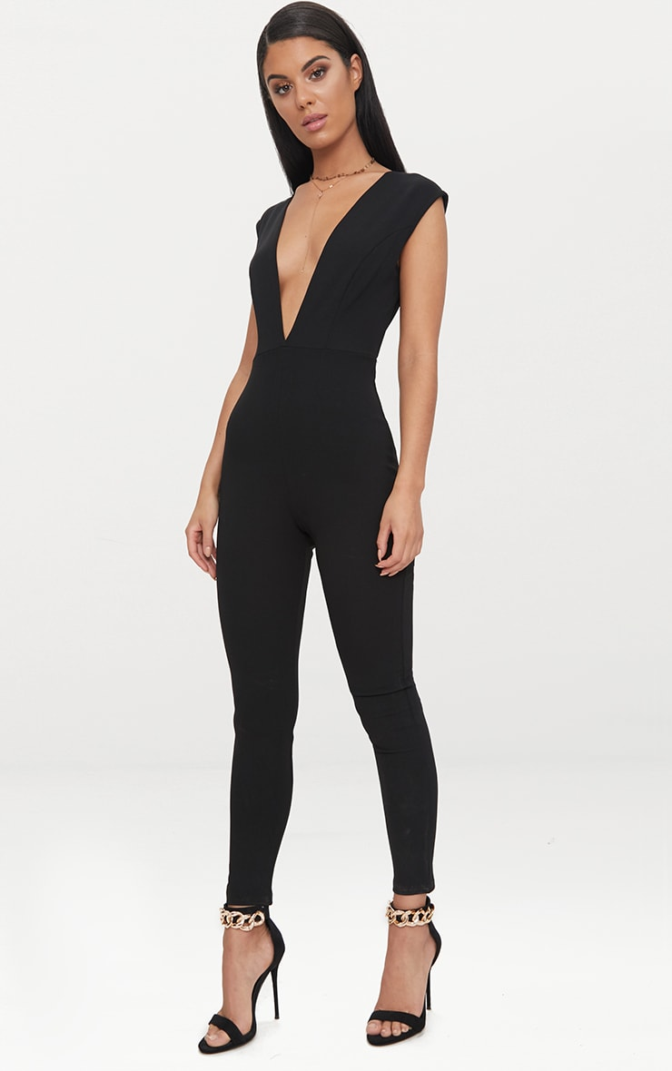 Black Crepe Plunge Open Back Jumpsuit 1