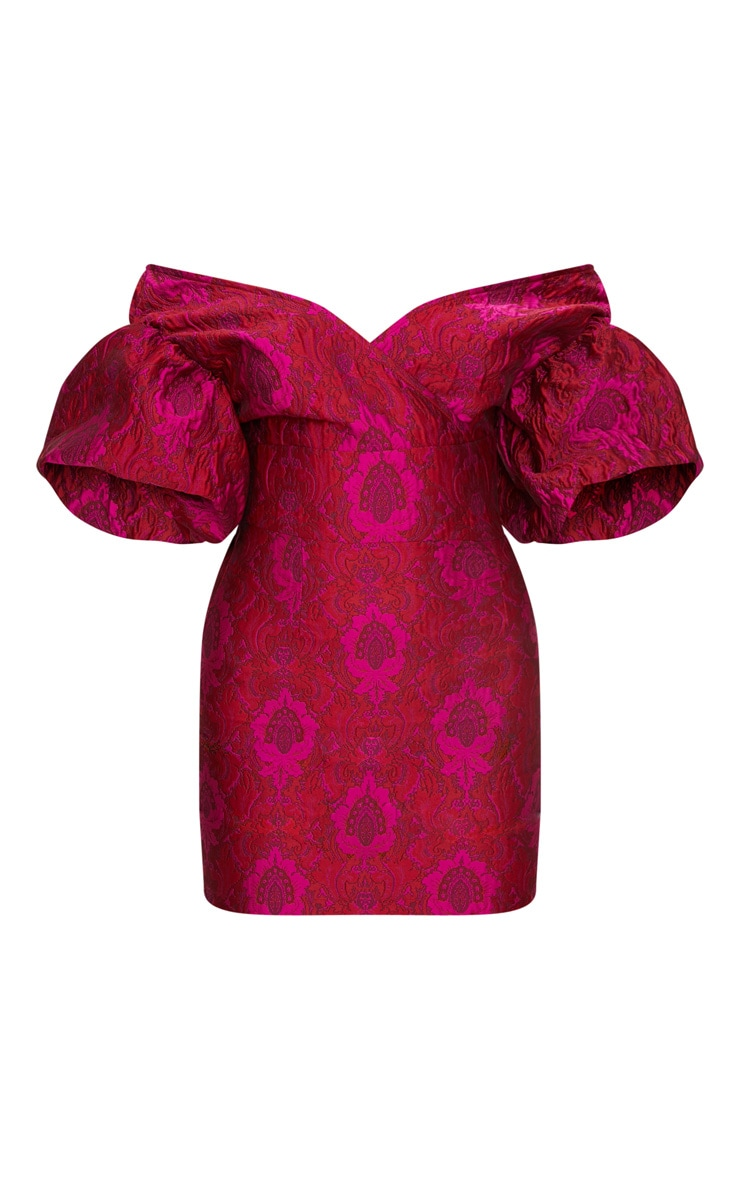 Fuchsia Pink Jacquard Puff Sleeve Plunge Bodycon Dress 3