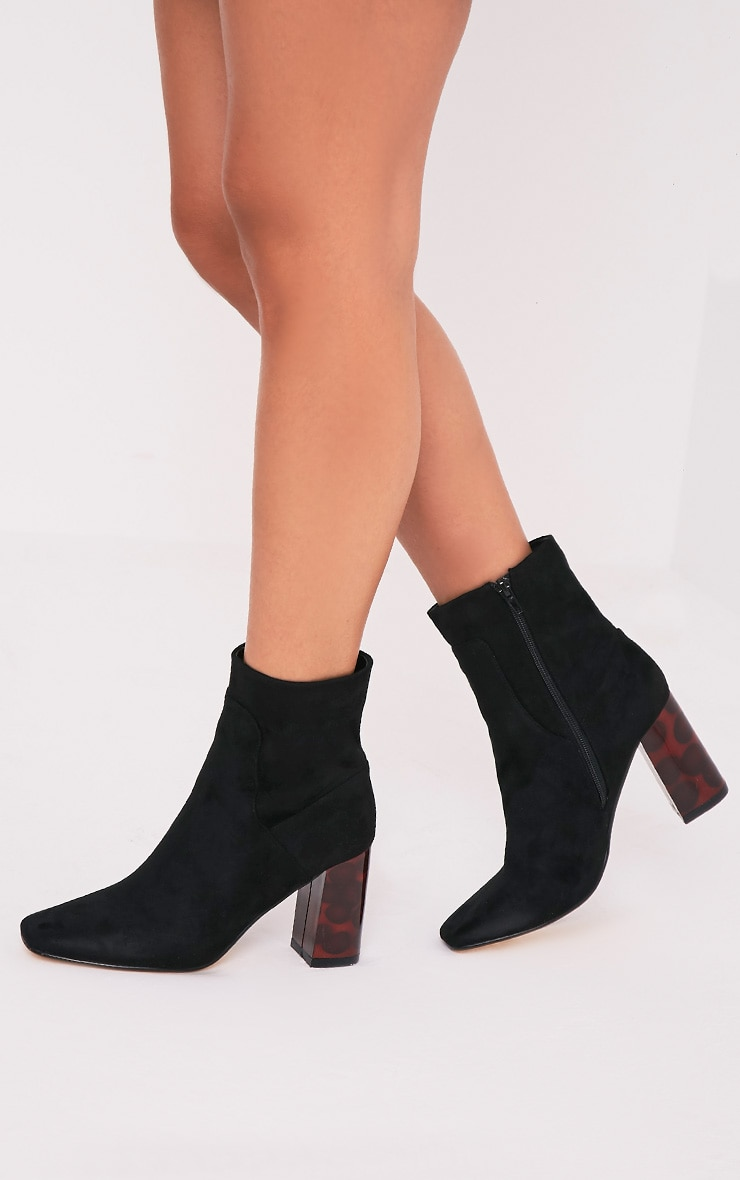 Tammi Black Faux Suede Tortoise Shell Heel Ankle Boots 2