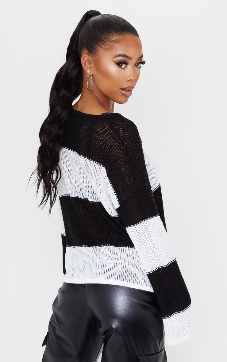 Black Fine Knit Stripe Jumper 2