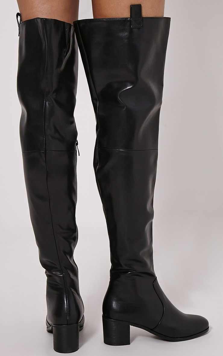 Cally Black Faux Leather Thigh High Over Knee Boots 2