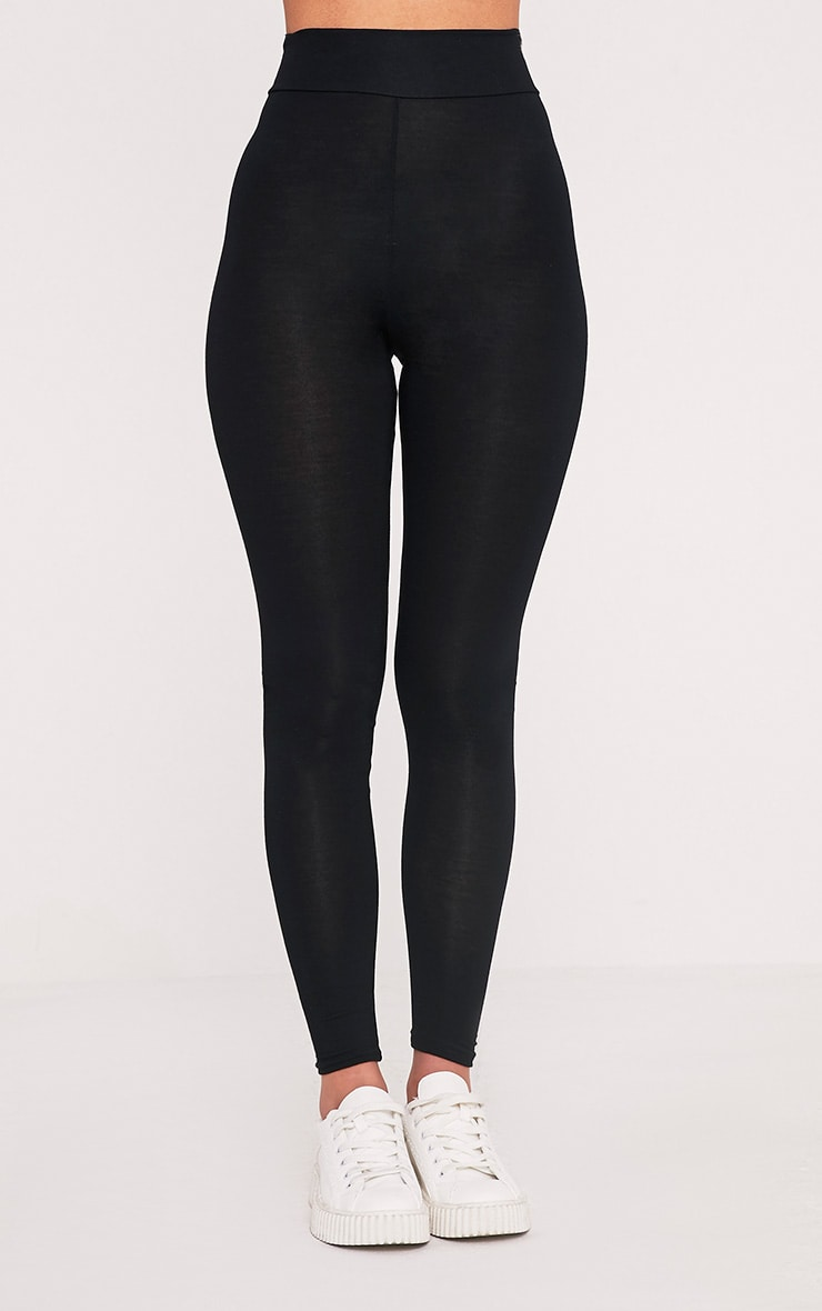 Basic Black High Waisted Jersey Leggings 2