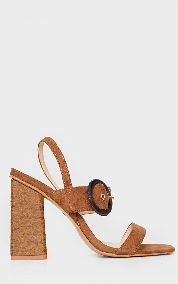 Tan Wood Block Heel Buckle Square Toe Sandals 3