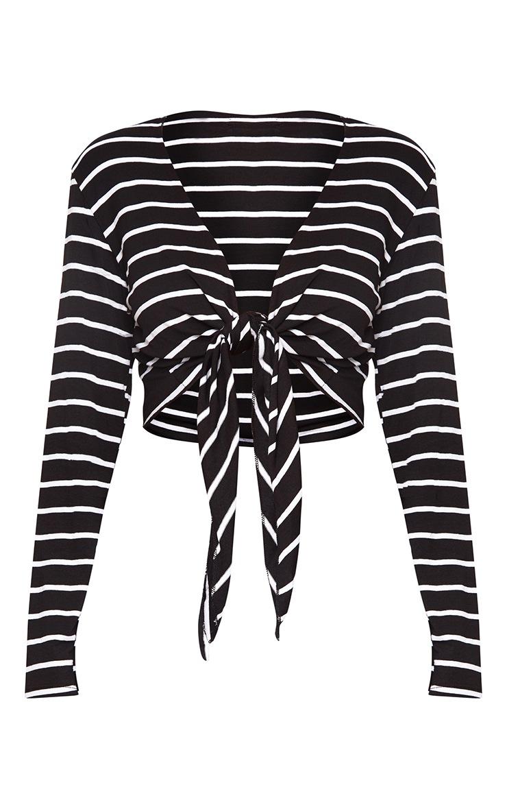 Black Stripe Tie Front Jersey Crop Top  3