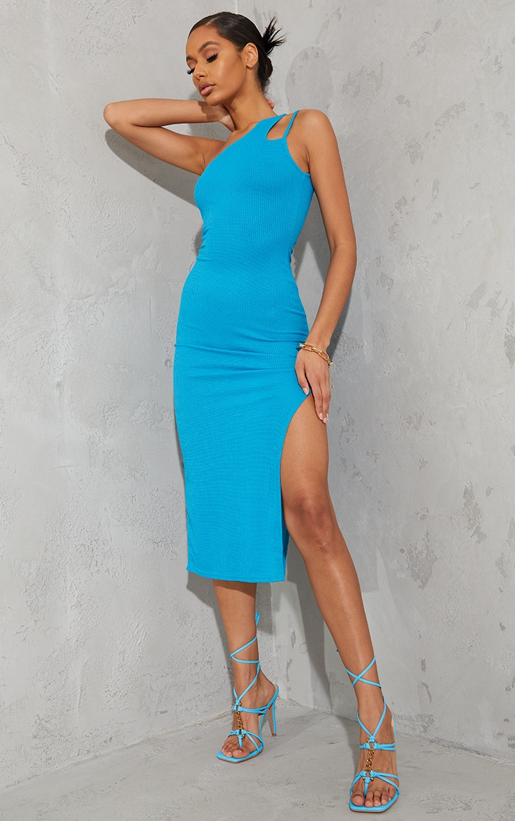 Bright Blue Waffle Rib Asymmetric Multi Strap Midaxi Dress image 1