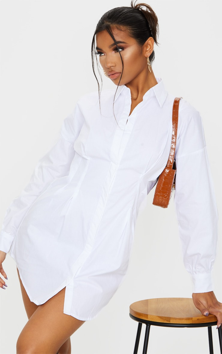 White Fitted Waist Long Sleeve Shirt Dress 1