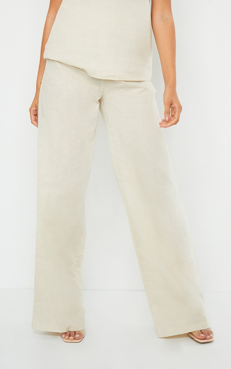 Cream Woven High Waisted Wide Leg Pant 2