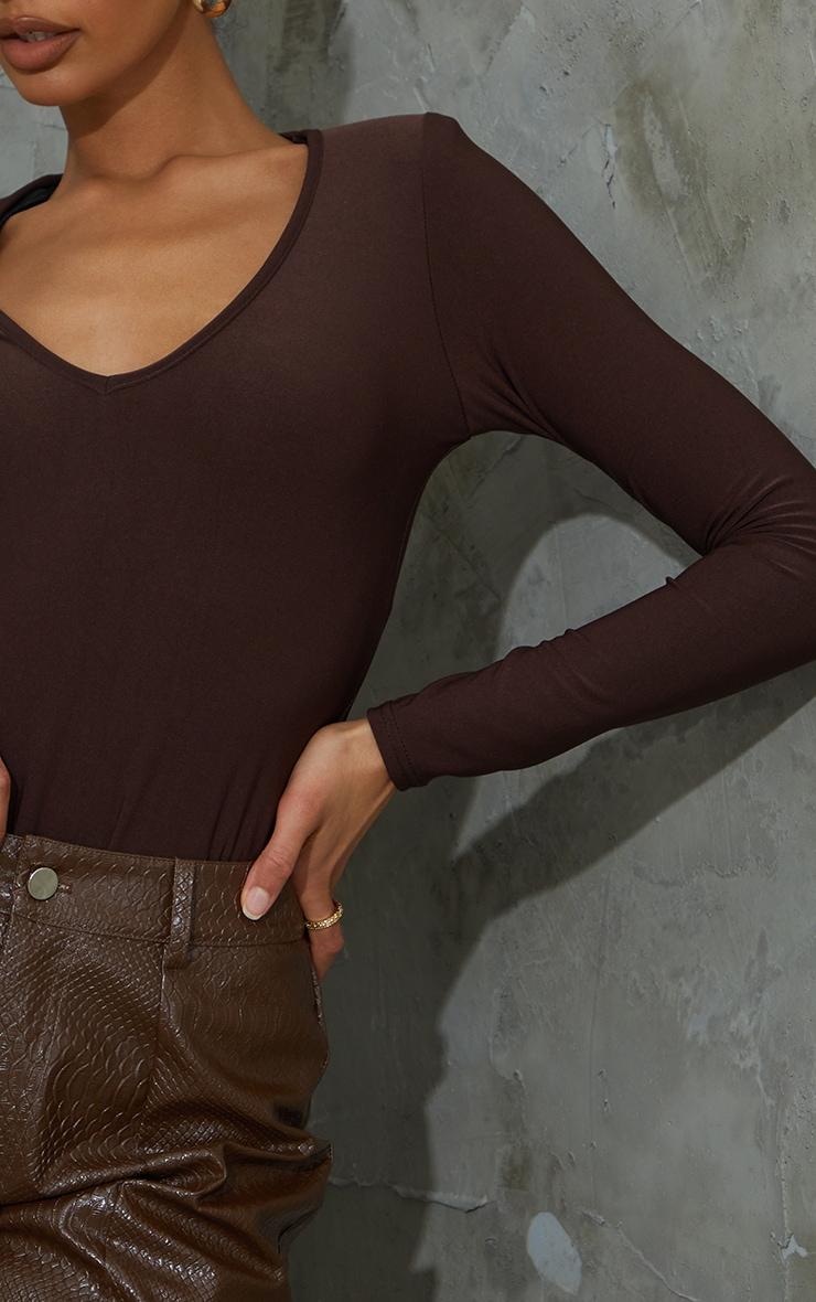Chocolate Slinky Plunge Shoulder Pad Long Sleeve Bodysuit 4