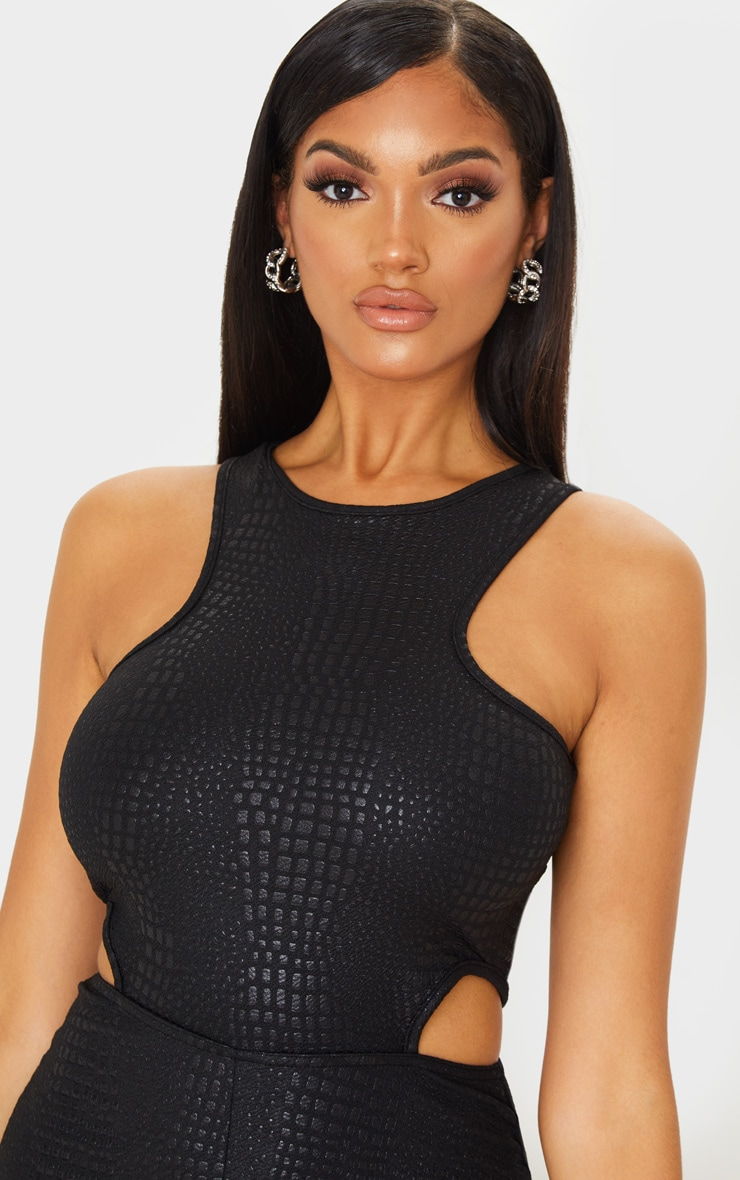 Black Textured Croc Cut Out Jumpsuit 5
