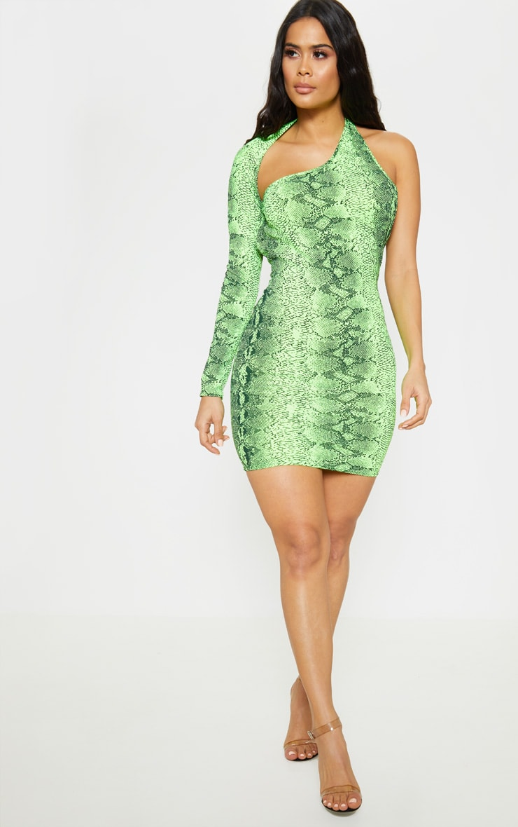 Neon Lime Snake Print One Shoulder Bodycon Dress 4