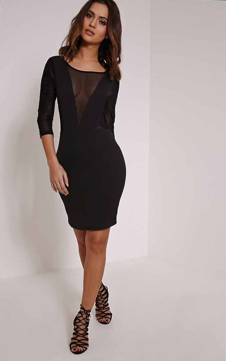 Daniella Black Mesh Insert Mini Dress 3