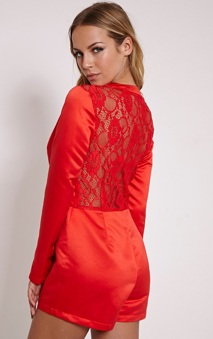Lysa Red Satin Lace Back Playsuit 5