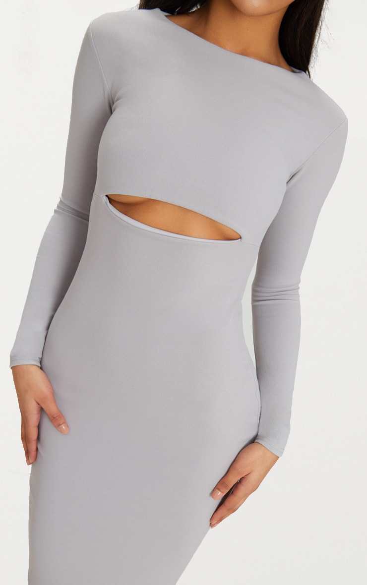 Ice Grey Cut Out Detail Long Sleeve Fishtail Maxi Dress 5