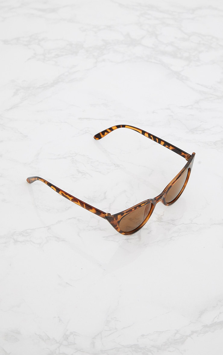 Brown Tortoiseshell Extreme Cat Eye Retro Sunglasses 4