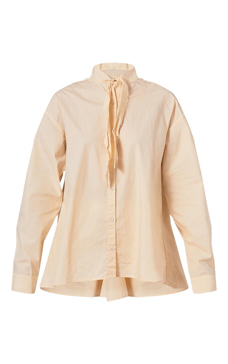 Cream Woven Oversized Tie Detail Shirt 5
