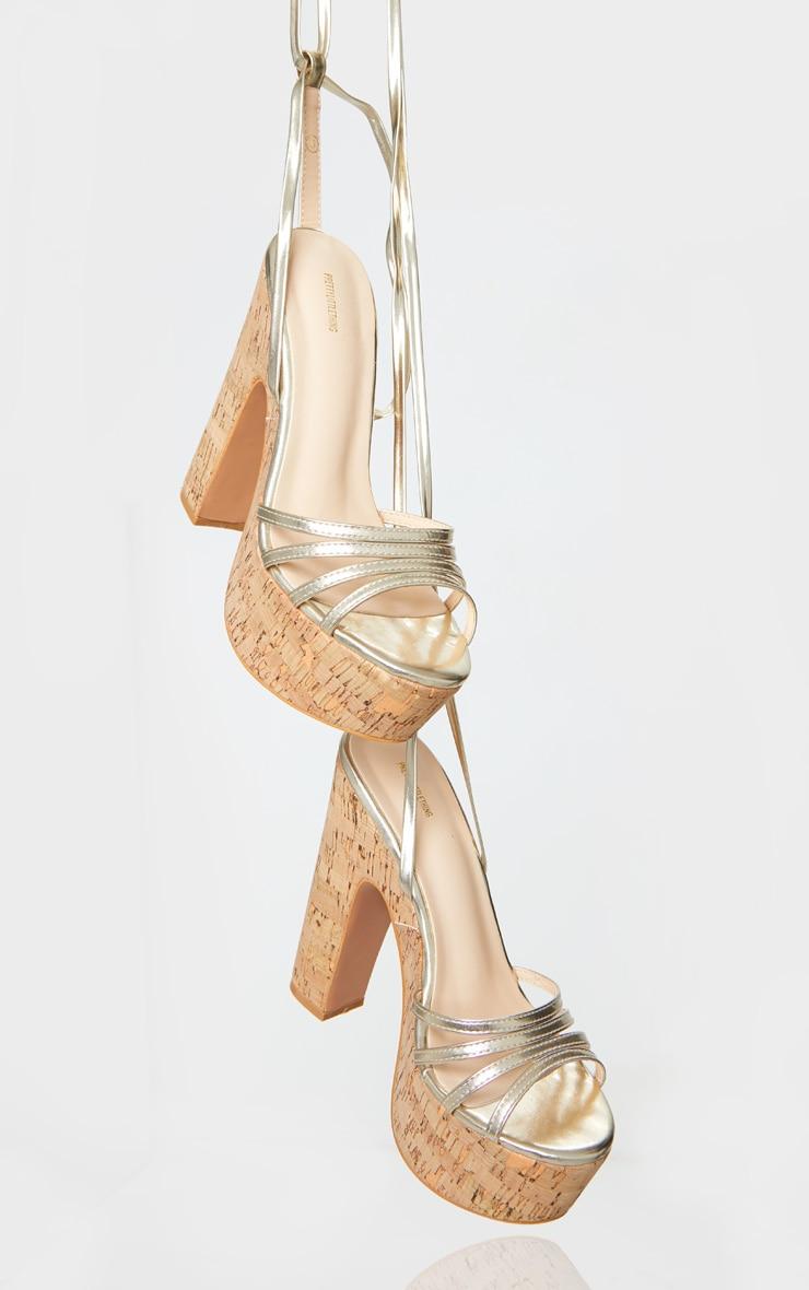 Gold Multi Strappy Ankle Tie Cork Platform Heeled Wedge Sandals 3