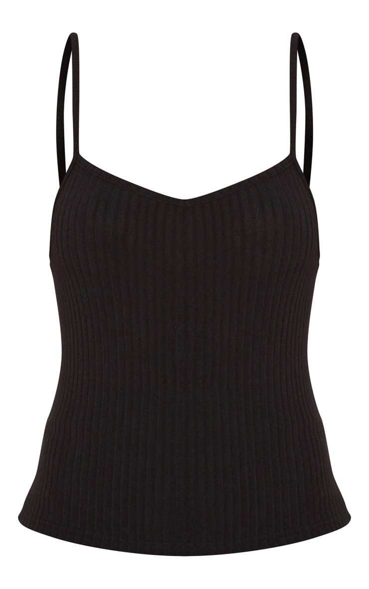 Black Rib Knit Cami Top 3