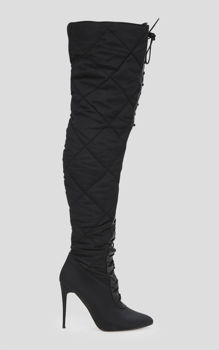 Black Thigh High Puffer Heeled Boots  3