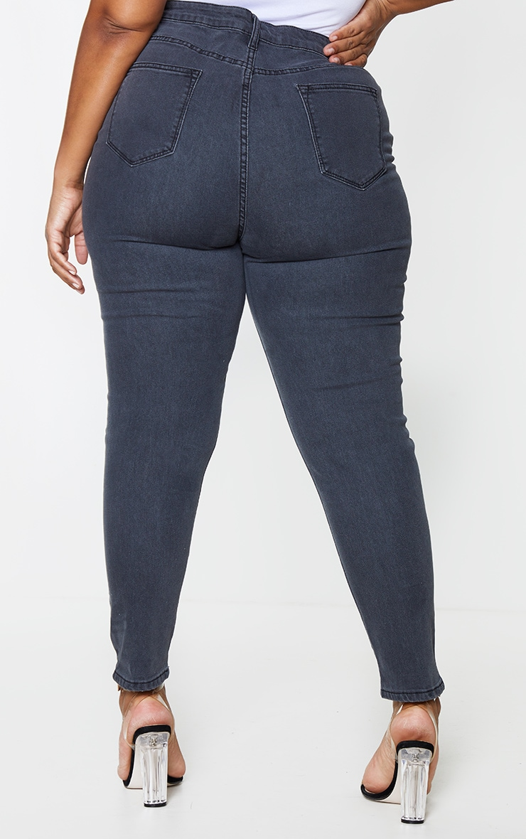 Plus PRETTYLITTLETHING Washed Black Double Rip High Waisted 5 Pocket Skinny Jean 3