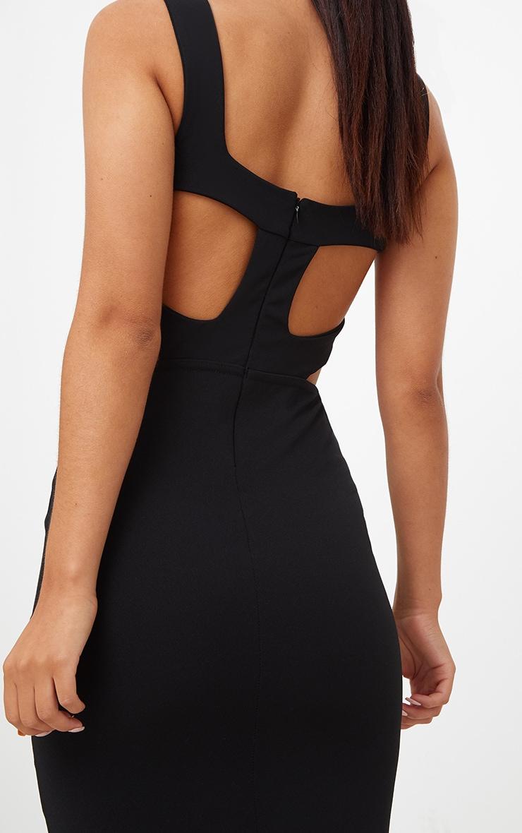 Black Cage Side Straight Neck Midi Dress 5