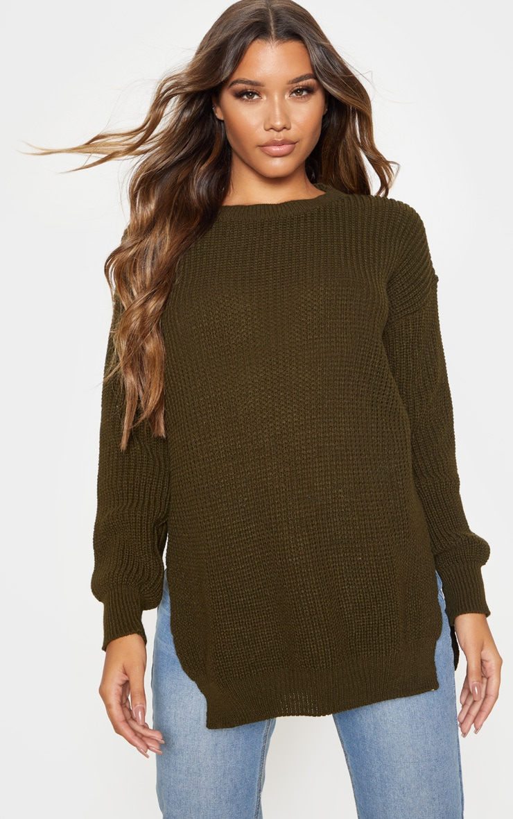 Dark Khaki Round Neck Side Split Sweater 1