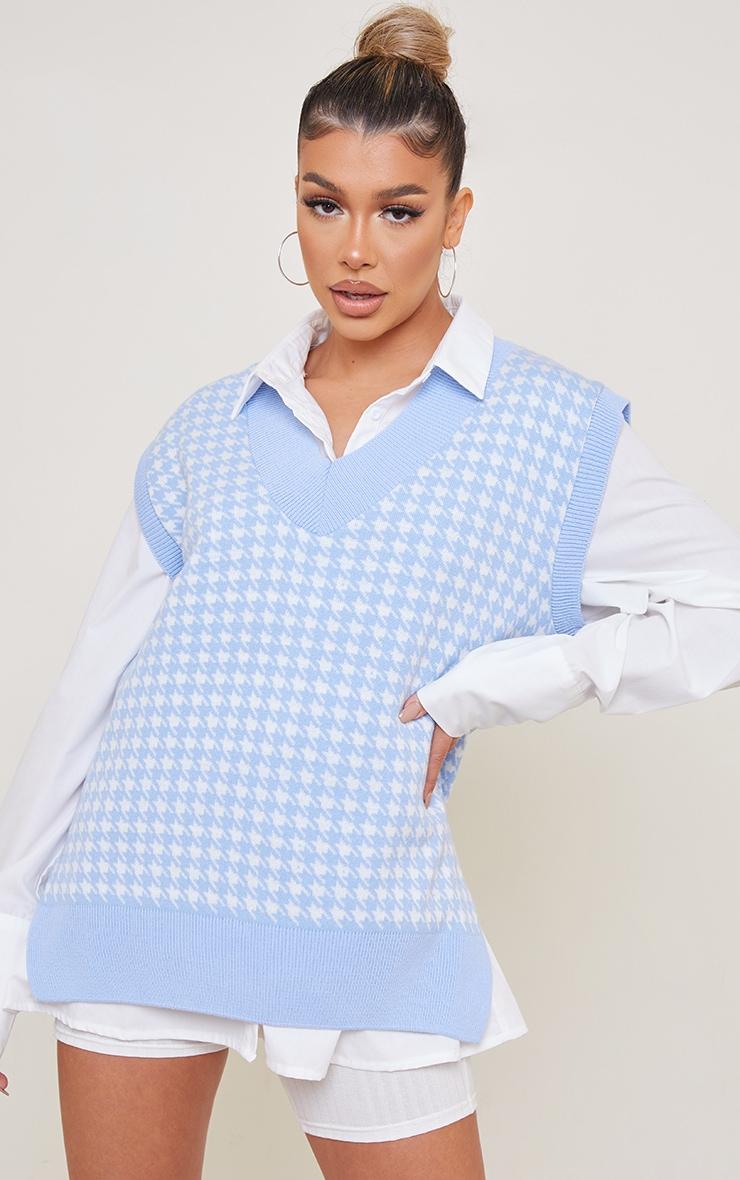 Baby Blue Dogstooth V Neck Knitted Side Split Vest 1