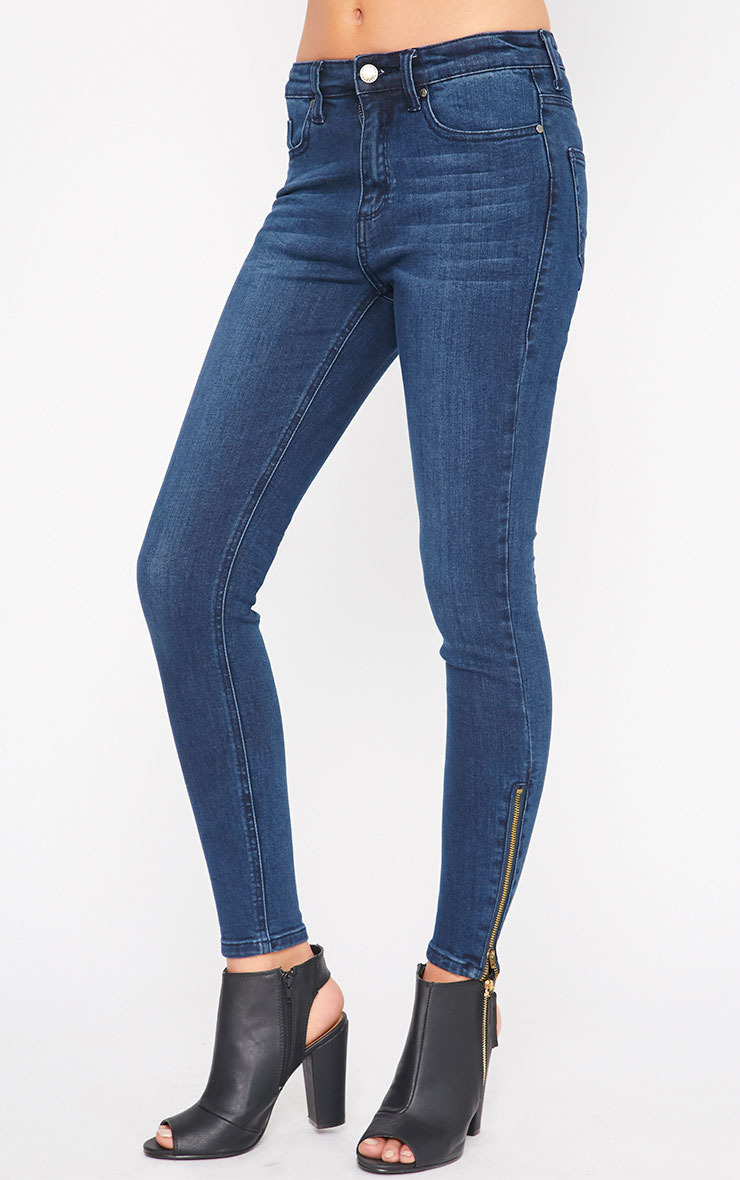 Hari Blue Wash Mid Rise Zip Skinny Jean 4